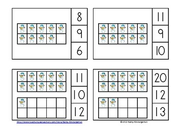 Snow Day Winter Ten Frames Math Centers (Quantities of 0 to 20)