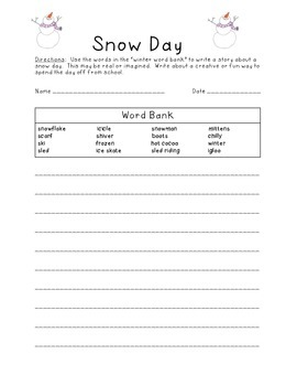 Snow Day Wintry Writing Activity with Word Bank January February