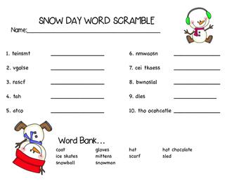 Snow Day Word Scramble