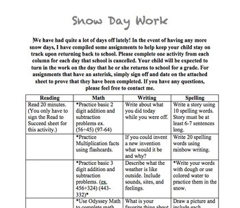 Snow Day Work Packet