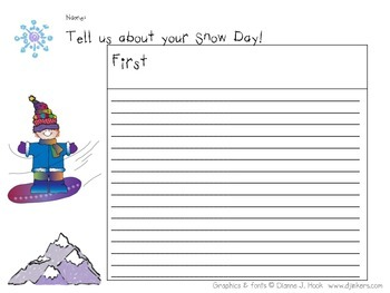 Snow Day Writing Template First Next Last Sequencing Graphic Organizer