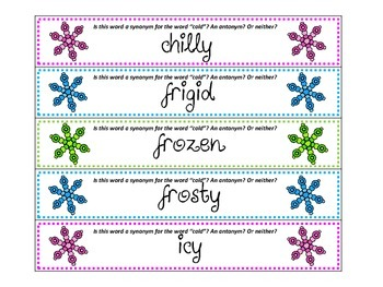 """Snow Day ZAP! """"Cold"""" Synonyms and Antonyms"""