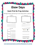 Snow Days Writing Prompts & Surveys: Narrative, Opinion, How-To Writing Options