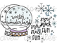 Snow Doodles Digital Clip Art Set- Color and Black Line COMBO