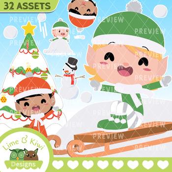 Snow Elves Boys Clipart | Instant  Download Vector Art