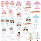Snow Elves Girls Clipart | Instant  Download Vector Art