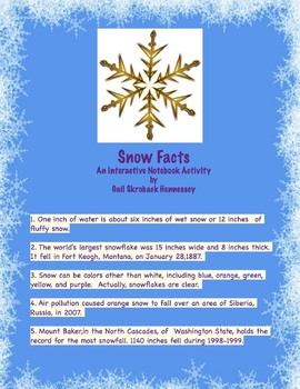 Snow Factoids: An Interactive Notebook Activity(FREEBIE)