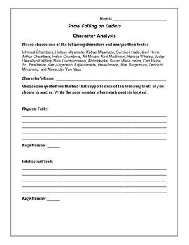 Snow Falling on Cedars Character Analysis Activity - David Guterson