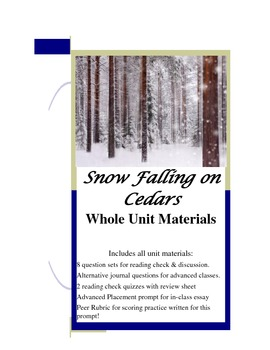 Snow Falling On Cedars Unit Question Sets Quizzes Review Essay