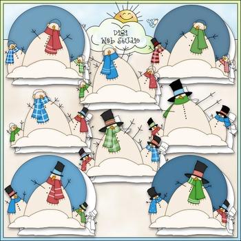 Snow Family Clip Art - Snowman Clip Art - Snowmen Clip Art