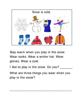 Snow Following Directions Comprehension Emergent Reader Printable Literacy