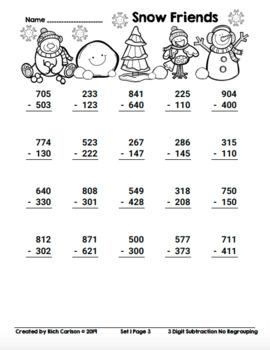 Snow Friends 3 Digit Subtractio No Regrouping! Winter Math FUN! (Black Line)