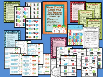Snow Friends Count with Ten Frames: Centers & Printables Numbers 1-30