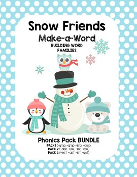 Snow Friends Make-a-Word Phonics Pack (Word Families BUNDLE)
