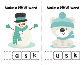 Snow Friends Make-a-Word (-ask, -usk, -isk, -esk Word Families) Phonics Pack II