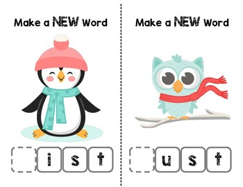 Snow Friends Make-a-Word (-est, -ast, -ist, -ust Word Families) Phonics Pack III