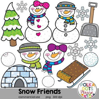 Snow Friends Winter Snowman Clipart {Graphics for Commercial Use}