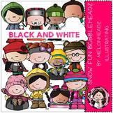 Snow Fun clip art - Bobbleheadz - BLACK AND WHITE- by Melonheadz