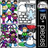 Winter Kids Clipart MEGA Set (Winter Clipart)