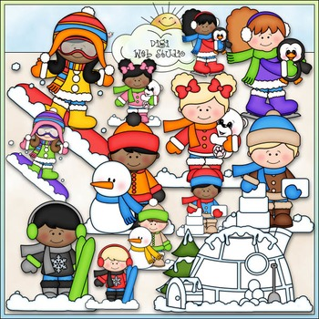 Snow Fun Kids Clip Art - Winter Kids Clip Art - CU Clip Art & B&W