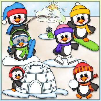 Snow Fun Penguins Clip Art - Winter Clip Art - CU Clip Art & B&W