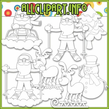 BUNDLED SET - Snow Fun Santa Clip Art & Digital Stamp Bundle
