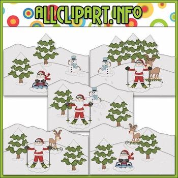 BUNDLED SET - Snow Fun Santa Scenes Clip Art & Digital Stamp Bundle