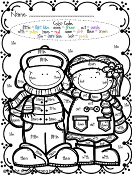 Snow Fun! Sight Word Color by the Code Packet
