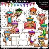 Snow Fun Teddy Bears - Clip Art & B&W Set