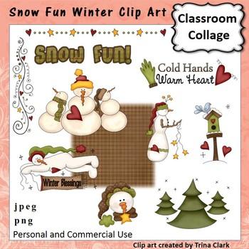Snow Fun Winter Clip Art - color - personal & commercial use