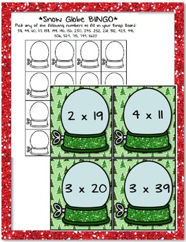 Snow Globe Bingo: Multiplying 1-Digit by 2-3 Digit AND 2-Digit by 2-Digits