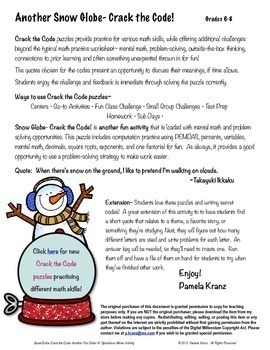 Order of Operations (Winter) Activity: Snow Globe Crack the Code!