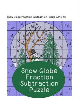 Snow Globe Fraction Subtraction Puzzle Activity