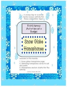 Snow Globe Homophone Sort and Write Activities