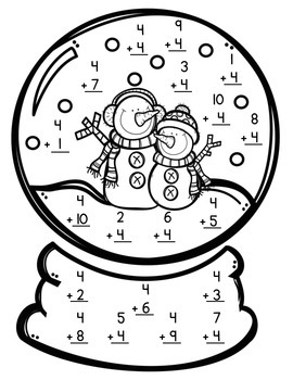 Snow Globe January Math Crafts Freebie