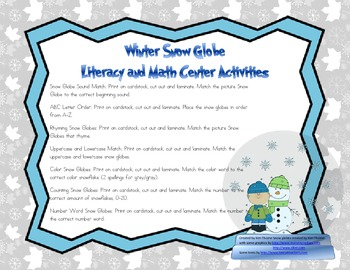Snow Globe Literacy and Math Center Activities