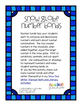 Snow Globe Number Bond Freebie!