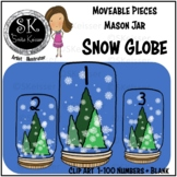Snow Globe Number Tiles Clip Art, Moveable Pieces, Digital