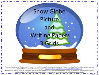 Snow Globe Picture and Writing Activity for Christmas or Winter