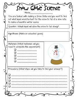 Snow Globe Science: A Cross Curricular Holiday Lab
