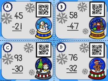 Snow Globe Subtraction: Double Digit Subtraction (no regrouping)