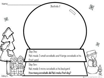 Snow Globe Two Step Math Story Problems