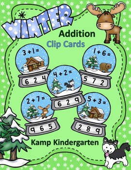 Winter Snow Globe Addition Clip Card Math Centers Sums to 10