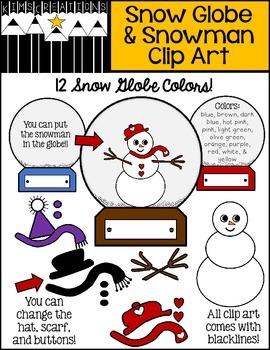 Snow Globe and Snowman Clip Art Set