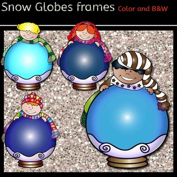 Snow Globes Clip Art-  - Color and black/white-
