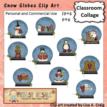 Snow Globes Clip Art Color  personal & commercial use