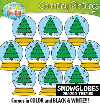 Snow Globes Counting Pictures Clipart {Zip-A-Dee-Doo-Dah Designs}