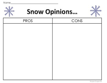 Snow Graphic Organizer and Activities