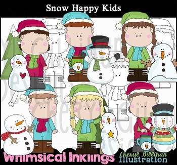 Snow HappyKids Winter Clipart Collection NO LICENSE REQUIRED