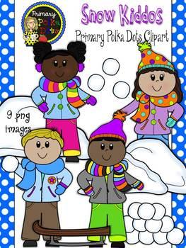 Snow Kids Clip Art {Primary Polka Dots Clip Art}